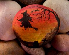 Witch rock, Halloween fun. Painted by cat