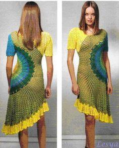 crochelinhasagulhas: Vestido circular colorido em crochê