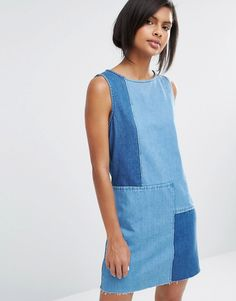 Image 1 of Vero Moda Patchwork Denim Dress
