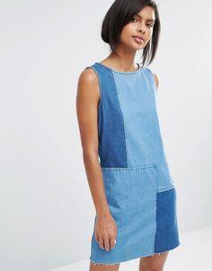 Image 1 of Vero Moda Patchwork Denim Dress