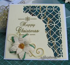 Silverwolf Cards- Christmas card from a Pinterest CASE. Tim Holtz Mixed Media die, Phill MArtin sentiment, La Creatif Poinsettia die.