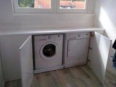 Worked-out # Waschmaschine # und # Trockner # in # Knieschuss # Loft. Closet Mirror, Bathroom Closet, Closet Doors, Garage Bathroom, Bedroom Closet Design, Master Bedroom Closet, Closet Designs, Laundry Closet, Laundry Room