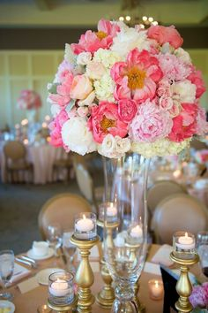 Pink wedding centerpiece idea; Featured photographer: Jen Kroll Photography