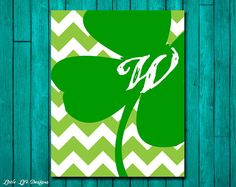 Personalized Shamrock YOUR Family Initial by LittleLifeDesigns. cute with black chevron background St Pattys, St Patricks Day, Canvas Crafts, Canvas Art, Holiday Crafts, Holiday Fun, Crafts For Seniors, St Paddys Day, Lucky Day