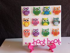 Girl Room OWL HOOT HOOT Ceramic Tile Wall Hanging  by crazydaisy12