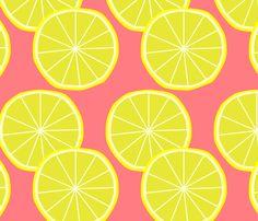Pink lemonade party.  Lemon fabric by slkanitz on Spoonflower.