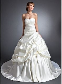 Ball-Gown Sweetheart Chapel Train Satin Wedding Dress With Ruffle Flower(s) Sequins (002015117)