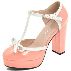 39a258f89b7b Allegra K Women s Bow T-Strap Platform Pumps. This adorable ankle strap  pump is accented with a bow on vamp