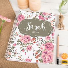 Personalized Floral Pattern Diary Printed Name