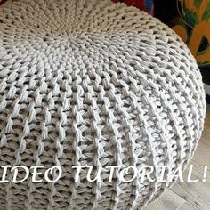 custom cushions vancouver CLICK VISIT link for more info - Cushions – Update Your Sofa With New Cushions Pouf En Crochet, Knitted Pouffe, Knitted Cushions, Chunky Knitting Patterns, Baby Knitting, Crochet Patterns, Pouf Ottoman, Bean Bag Pouffe, Giant Knit Blanket