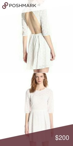 New- Rebecca Minkoff White Lacey Saturday Dress Rebecca Minkoff White Lacey Saturday Dress Cotton blend lace dress with an open back. Single button closure at back of neck with invisible zipper down back center skirt.  BRAND NEW, NEVER WORN WITH ORIGINAL TAGS  I work in L.A as a wardrobe stylist for film and television. All my items are authentic and come from high end boutiques or stores.  Thanks! Rebecca Minkoff Dresses