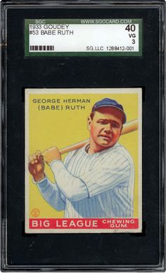 One of 4 Ruth cards in the 1933 set, this is another great card with a bright yellow back ground.  I owned this in PSA 5