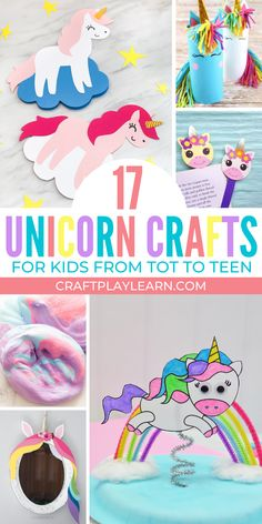Here are some fantastic unicorn crafts for preschool and older kids. From toilet tube unicorns to unicorn paper crafts there is something for all to make. Kids crafts can be so fun to make and these simple and easy unicorn craft ideas are real winners. Easy Arts And Crafts, Paper Crafts For Kids, Easy Crafts For Kids, Preschool Crafts, Art For Kids, Diy And Crafts, Unicorn Kids, Unicorn Crafts, Mothers Day Crafts