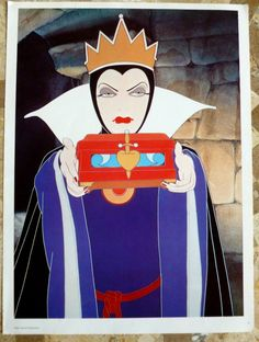 Vintage Disney Poster, The Wicked Queen in Snow White ~ Wicked Witch ~1970's  Mint Condition, 15 x 11 in, Walt Disney Poster ~ Villian by VintageSchoolDays on Etsy https://www.etsy.com/listing/127897380/vintage-disney-poster-the-wicked-queen