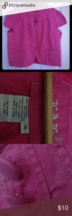 Hot pink short sleeve jacket with 2 button closure Hot pink short sleeve jacket with a mock Nero collar. 2nd button need minor repair. Perfect with a Cami or a long sleeved shirt LAL Jackets & Coats Blazers