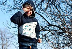 "{Designnähen} Unisex-Hoodie ""LongiHood"" für Kinder * The Crafting Café Unisex, Bomber Jacket, Winter Jackets, Crafts, Fashion, Tutorials, Cute Penguins, Girls Sweaters, Sewing For Kids"