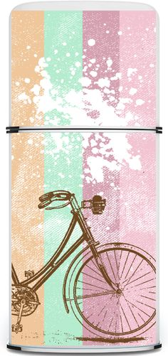 Beachify your old fridge with a cute decal until you can afford a new one Creative Decor, Creative Design, Decoupage, Fridge Decor, Retro Fridge, Gadgets And Gizmos, Vintage Bicycles, Creative Thinking, Outdoor Entertaining