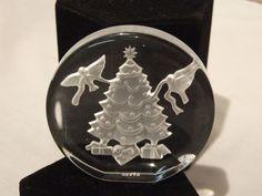 "Danbury Mint Christmas Sculpture in Crystal ""Christmas Tree"" 1982 Original Box"