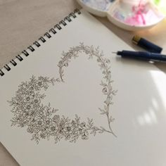 48 Ideas For Drawing Ideas Heart Tat Art Floral, Floral Doodle, Floral Drawing, Drawing Flowers, Music Drawings, Doodle Drawings, Doodle Art, Pencil Drawings, Doodle Designs