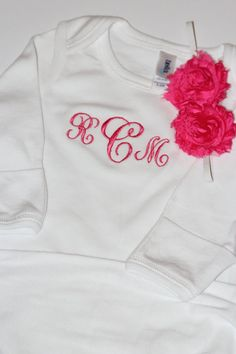 Personalized Baby Gown and Headband  Sew by SewAdorableBowtique, $28.00