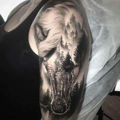 Tattoos And Body Art horse tattoo Head Tattoos, Arm Tattoo, Body Art Tattoos, Cool Tattoos, Tattoos Skull, Tatoos, Cowgirl Tattoos, Western Tattoos, Indian Horse Tattoo