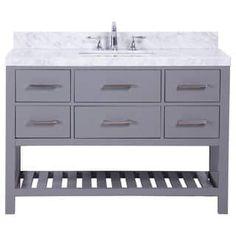 Belvedere 48-inch Traditional Freestanding Grey Marbe Top Bathroom Vanity