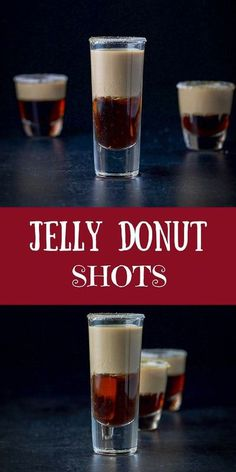 This jelly donut shot recipe is so fabulous! You layer Chambord and Baileys and when you shoot it, you get a delicious jelly donut taste in your mouth! No chewing needed :) #jellydonutshot #jellydonut #layeredshot #Chambord #BaileysIrishCream #dishesdeli Jello Shot Recipes, Alcohol Drink Recipes, Jello Shots, Fall Drinks Alcohol, Alcohol Shots, Jelly Recipes, Salad Recipes, Liquor Drinks, Non Alcoholic Drinks