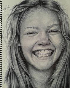 Happy. Black and White Realistic Ballpoint Pen Drawings. By Gabriel Vinícius.