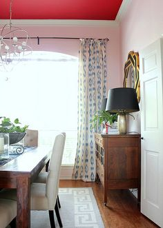 Pink Walls & Red Ceiling Dining Room