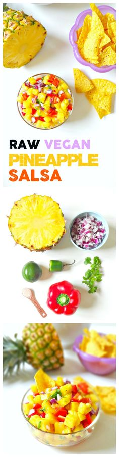 Raw Vegan Pineapple Salsa. FRESH, crunchy, juicy, spicy and sweet. This healthy salsa with a tropical twist is essential for summer. From The Glowing Fridge.