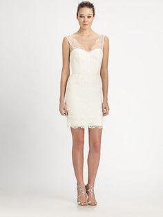 ML Monique Lhuillier - Tiered Lace Bustier Dress - Saks.com - oh, to own a Monique Lhuillier gown