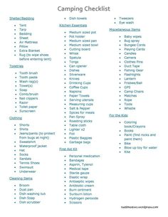 Camping Checklist. Why do the kids have the shortest list? That's just wrong man!