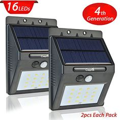 2 Pack Solar Light with Motion Sensor,CrazyFire?? 16 Bright LEDs Wireless Solar Powered Motion Sensor Light for Outdoor Wall Garden Lamp Patio Deck Yard Home Driveway Stairs With Auto On/Off >>> Click image for more details.