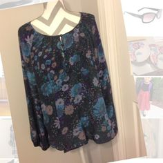 Sale $11 Firm❤️Floral  beauty This Blouse had an array of beautiful floral pattern. Blouse is silky soft.  A great addition to a woman's closet and perfect for this time of year Sanctuary Tops Blouses