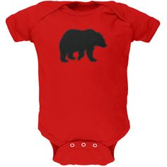 Bear Faux Stitched Red Soft Baby One Piece | AnimalWorld.com