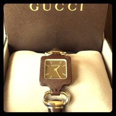 SALE Super cute Authentic Leather Gucci watch Gorgeous Swiss made Gucci watch with brown leather face and stainless steel . I wore it once for a few hours and it's been stored in its box ever since . Includes everything, box , manual etc.  Feel free to leave offer 😊😊 Gucci Accessories Watches