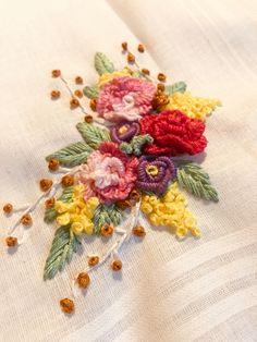 Embroidery on a handkerchief Handkerchief Embroidery, Hand Embroidery, Embroidered Roses, Cross Stitch Flowers