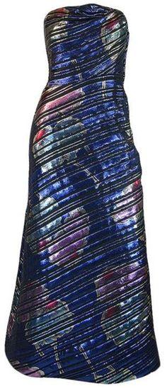 blue metallic print strapless dress (Arnold Scaasi, 1970s)