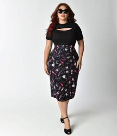 Divinely dangerous, darling. This curve killing plus size retro pencil skirt from Vixen by Micheline Pitt is a va-va-voom vintage inspired wiggle thats to die for! Made with the shape of your body in mind to nip in your waist and accentuate your hourglas
