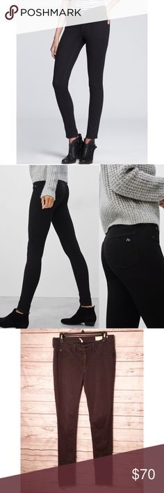 """Rag & Bone Jean Black Legging Cut This pair of super-soft and stretchy black jeggings is designed to contour to and hug your silhouette. The pants have a flattering mid-rise and tonal stitching that keeps the style classic and doesn't distract from the second-skin fit. Minor fading on edges of pockets and other edges. Measures about 15"""" across at waist, 9"""" rise, 29"""" inseam, 40"""" outseam, 5.5"""" leg opening. ✨ Feel free to ask any questions. No trades or outside transactions. Offers welcomed…"""