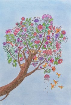 The tree in summer, coloured by Prue. Colouring, Adult Coloring, World, Summer, Art, Islands, Adult Colouring In, Art Background, Summer Time