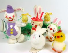 CUTE! Vtg 60s 70s Easter Bunny Rabbit & Chick Duck Fuzzy Pompom Decorations LOT