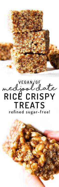 Healthy vegan rice crispy treats made with Medjool dates and almond butter instead of marshmallows for a sweet sticky refined sugar-free cereal snack!