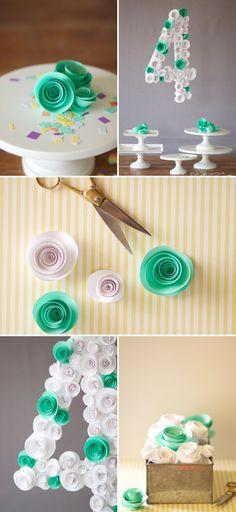 Spiral flower number diy oh happy day! Flower Crafts, Diy Flowers, Paper Flowers, Flower Diy, Fun Crafts, Diy And Crafts, Paper Crafts, Ideas Decoracion Cumpleaños, Do It Yourself Wedding