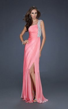 Coral One Shoulder Evening Gown By La Femme 17127 [La Femme 17127 Coral] - $173.00 : Cheap Formal Dresses, Discounted Prom Dresses at DressesBarnCheap