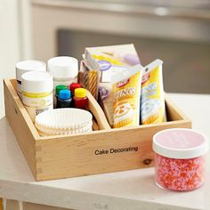 Pantry Ideas: Store Together - Group items you use simultaneously in a container, so you just have to pull it out rather than hunt for individual items. For example, corral common baking ingredients -- vanilla, baking powder, baking soda, and salt -- in one basket or tray and cake-decorating ingredients in another.
