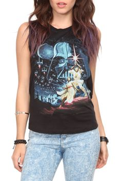 Black sleeveless tee with large Star Wars design and horizontal slash details on the back.