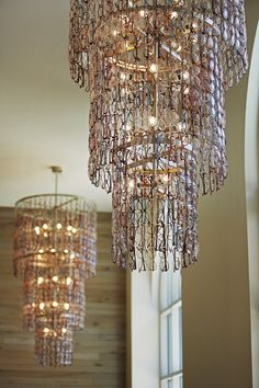 Chandelier made of recycled eye glasses at Hotel Zetta.