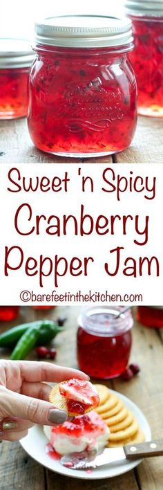 Sweet 'n Spicy Cranberry Pepper Jam is completely irresistible! get the recipe a… Sweet 'n Spicy Cranberry Pepper Jam is completely irresistible! get the recipe at barefeetinthekitc… Pepper Jelly Recipes, Cranberry Pepper Jelly Recipe, Canning Pepper Jelly, Hot Pepper Jelly, Datil Pepper Jelly Recipe, Pineapple Pepper Jelly Recipe, Pepper Butter Recipe, Spicy Cranberry Sauce, Pickles