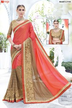 Pristine Shaded Pink and Orange Designer Saree Work :-Peach and Pink Shaded based Combination With Golden Embroidery and Border Indian Saree Fabric - Satin Paired with the matching blouse piece. Indian Designer Sarees, Latest Designer Sarees, Indian Sarees, Pink Beige, Pink Lace, Chiffon Saree, Silk Sarees, Satin Saree, Net Saree
